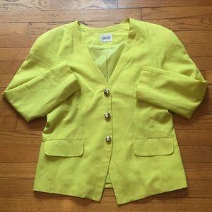 Vintage Leslie Fay Sportswear Yellow Blazer Size